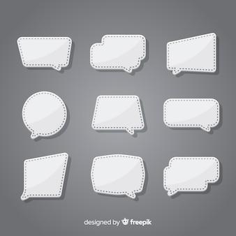 Płaska konstrukcja kolekcja dymek w stylu papieru