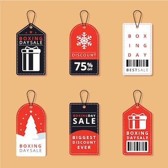 Płaska konstrukcja kolekcja etykiet sprzedaż w drugi dzień świąt