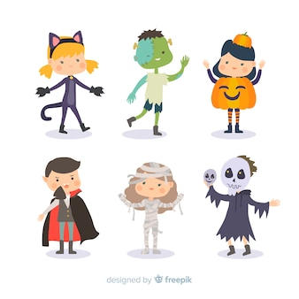 Płaska konstrukcja kolekcja halloween dla dzieci
