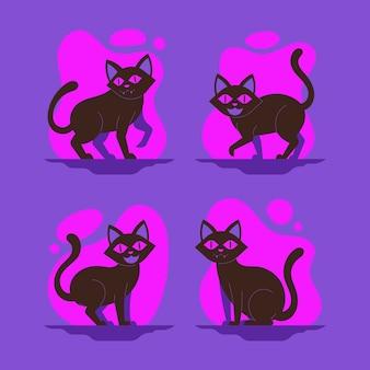 Płaska konstrukcja kolekcja kotów halloween