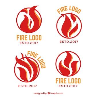 Płaska konstrukcja kolekcja logo ognia