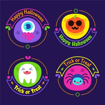 Płaska konstrukcja kolekcja odznak halloween