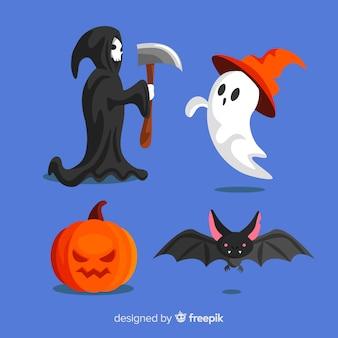 Płaska konstrukcja kolekcja postaci halloween