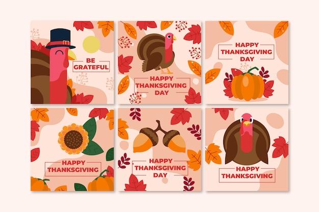 Płaska konstrukcja kolekcja postów na święto dziękczynienia na instagramie