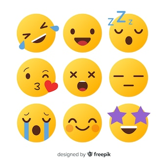 Płaska konstrukcja kolekcja reakcji emotikon