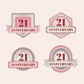 Płaska konstrukcja kolekcja vintage odznaki 21 rocznica