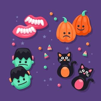 Płaska konstrukcja kolekcji cukierków halloween