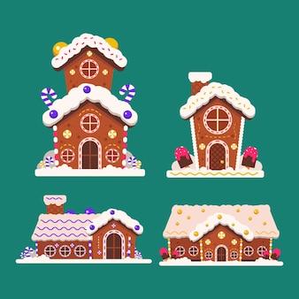 Płaska konstrukcja kolekcji domków z piernika