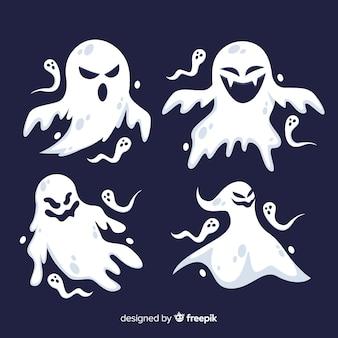 Płaska konstrukcja kolekcji duchów halloween