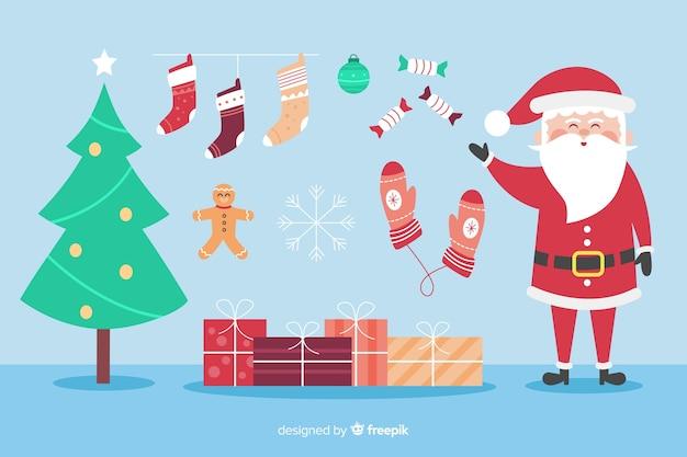 Płaska konstrukcja kolekcji element świąteczny