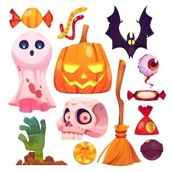 Płaska konstrukcja kolekcji elementów halloween
