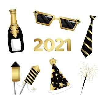 Płaska konstrukcja kolekcji elementów strony nowego roku