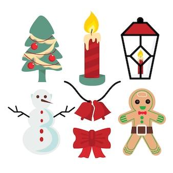 Płaska konstrukcja kolekcji elementów świątecznych