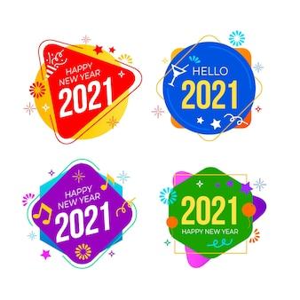 Płaska konstrukcja kolekcji etykiet nowy rok 2021