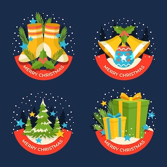 Płaska konstrukcja kolekcji etykiet świątecznych