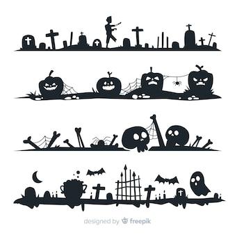 Płaska konstrukcja kolekcji granicy halloween