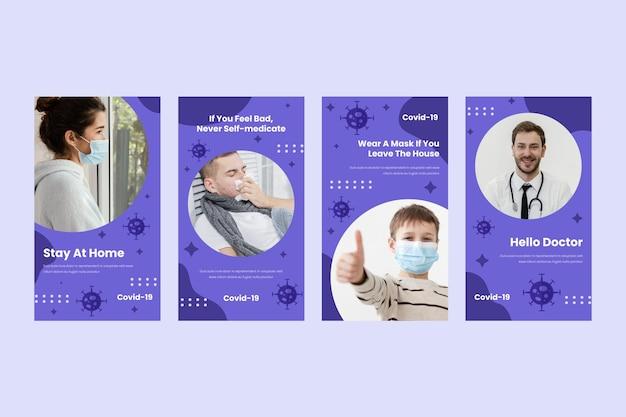 Płaska konstrukcja kolekcji historii na instagramie koronawirusa