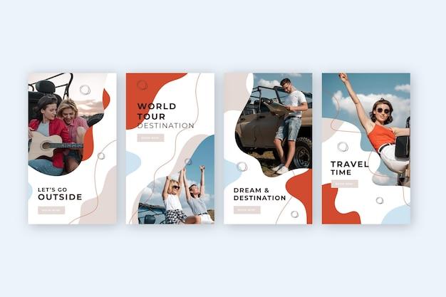 Płaska konstrukcja kolekcji historii podróży na instagramie