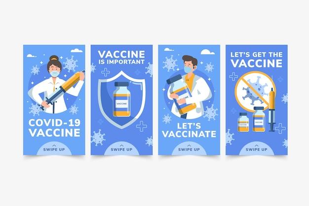 Płaska konstrukcja kolekcji historii szczepionek na instagramie