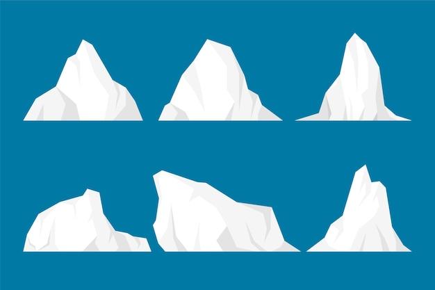 Płaska konstrukcja kolekcji ilustracji góry lodowej