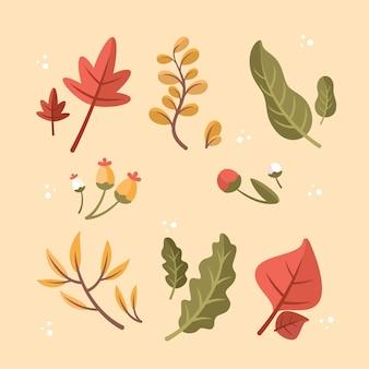 Płaska konstrukcja kolekcji jesiennych liści