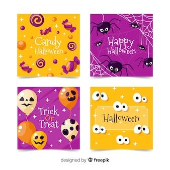 Płaska konstrukcja kolekcji kart halloween