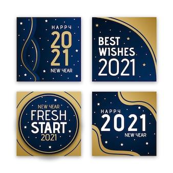 Płaska konstrukcja kolekcji kart nowy rok 2021