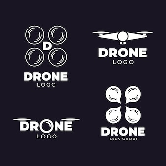 Płaska konstrukcja kolekcji logo drone