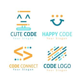 Płaska konstrukcja kolekcji logo kodu
