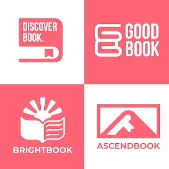 Płaska konstrukcja kolekcji logo książki