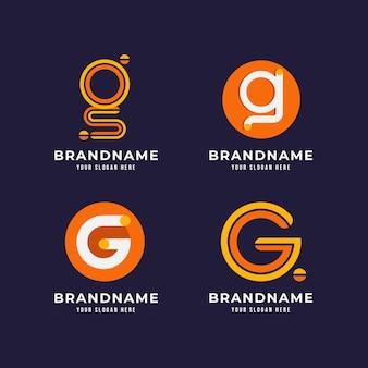 Płaska konstrukcja kolekcji logo litery g