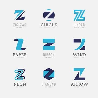 Płaska konstrukcja kolekcji logo litery z.