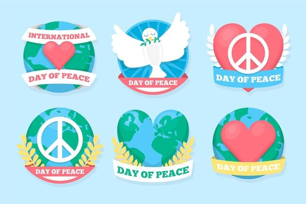 Płaska konstrukcja kolekcji odznak międzynarodowego dnia pokoju