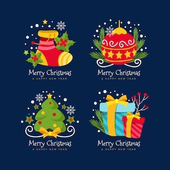 Płaska konstrukcja kolekcji odznak świątecznych