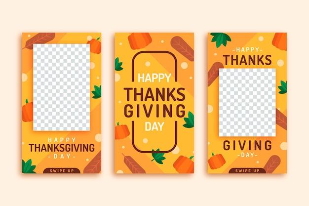 Płaska konstrukcja kolekcji opowiadań na instagramie dziękczynienia