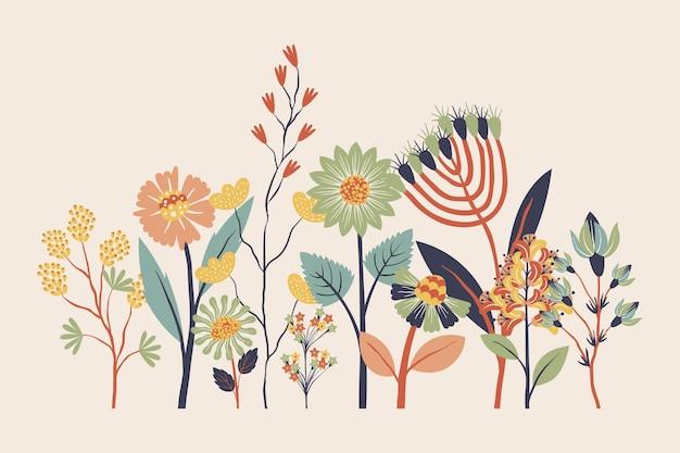 Płaska konstrukcja kolekcji pięknych wiosennych kwiatów