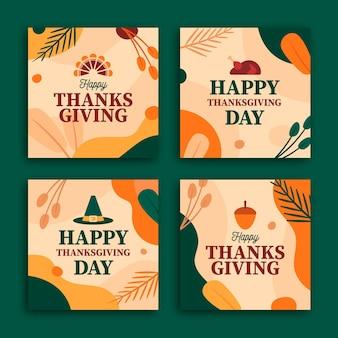 Płaska konstrukcja kolekcji postów na instagramie dziękczynienia