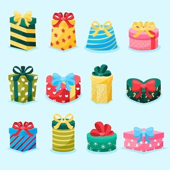 Płaska konstrukcja kolekcji prezentów świątecznych