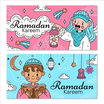 Płaska konstrukcja kolekcji ramdan banner
