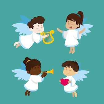 Płaska konstrukcja kolekcji świątecznych aniołów