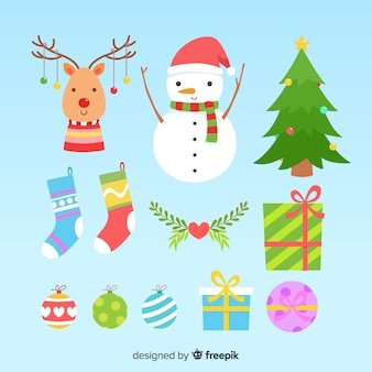 Płaska konstrukcja kolekcji świątecznych elementów