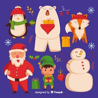 Płaska konstrukcja kolekcji świątecznych postaci