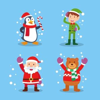 Płaska konstrukcja kolekcji świątecznych znaków