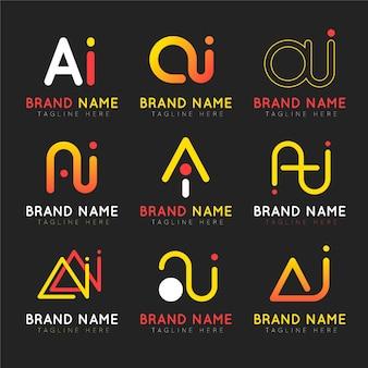 Płaska konstrukcja kolekcji szablonów logo ai