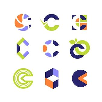 Płaska konstrukcja kolekcji szablonów logo c
