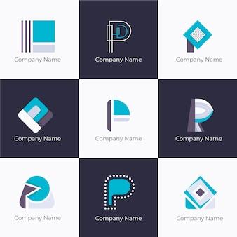 Płaska konstrukcja kolekcji szablonów logo p