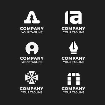 Płaska konstrukcja kolekcji szablonów logo