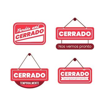 Płaska konstrukcja kolekcji szyldów cerrado