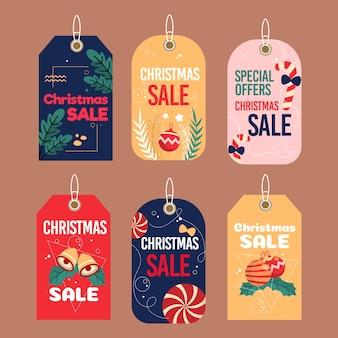 Płaska konstrukcja kolekcji tagów świątecznej sprzedaży