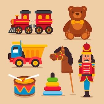 Płaska konstrukcja kolekcji zabawek świątecznych
